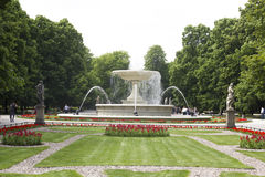 The current fountain with sculptures in the park. Warsaw Stock Photo