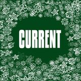 CURRENT on green banner with flowers. Royalty Free Stock Photography