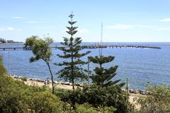 Redcliffe - Jetty on Moreton Bay. The current jetty, opened to the public in 1995, is the third pier generation built on the same location in the Moreton Bay royalty free stock photos