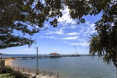 Redcliffe - Jetty on Moreton Bay. The current jetty, opened to the public in 1995, is the third pier generation built on the same location in the Moreton Bay stock photos