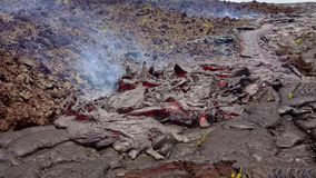 Current lava on the surface of the earth. Liquid lava.  stock video