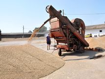 On the current mobile grain cleaning machine. Shmankivtsi - Ternopil - Ukraine - August 21, 2013 With the use of a mobile grain-cleaning machine, the `Parostok` Royalty Free Stock Photo