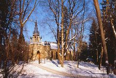 The current Orthodox church of the holy apostles Peter and Paul. Russia, St. Petersburg, Shuvalovsky Park stock photos