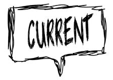 CURRENT on a pencil sketched sign. Illustration graphic concept Stock Photos