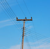 current pole electricity line in the cloudy  sky and abstract ba Royalty Free Stock Images