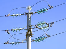 Current pole with insulators. Blue sky Stock Photography