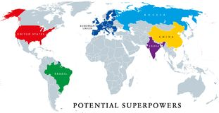 Current and potential Superpowers, political map stock illustration