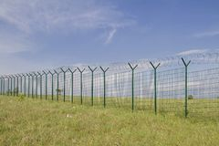 Newly built border fence. The current situation in Europe meant that countless kilometers of such fences were built at the national borders to protect against royalty free stock photo