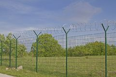 Newly built border fence. The current situation in Europe meant that countless kilometers of such fences were built at the national borders to protect against royalty free stock photography