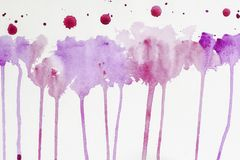 Current watercolor hand drawn. Abstract watercolor stains, texture in colorful shades of purple and violet colors on stock image