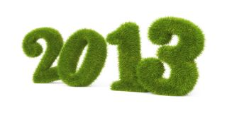 Current year. Grassy digits. Separated on white Royalty Free Stock Photography