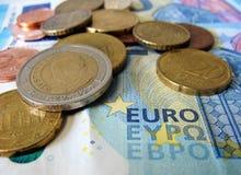 Curreny kassa för euro arkivfoton
