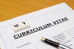 Curriculum vitae Stock Photo