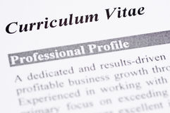 Curriculum Vitae. Close up of a Curriculum Vitae with professional profile Stock Images