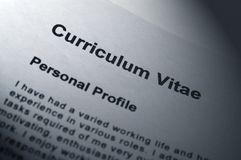 Curriculum Vitae. Close up of Curriculum Vitae title page Stock Photography