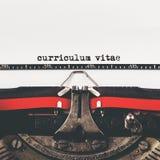 Curriculum vitae-Art auf alter Schreibmaschinenmaschine Stockbilder