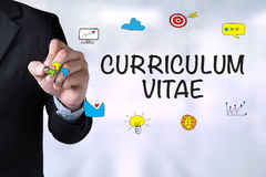 CURRICULUM VITAE. And Businessman drawing Landing Page on blackboard Stock Photos