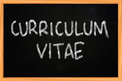Curriculum Vitae Chalk Writing on Blackboard Royalty Free Stock Images
