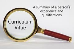 Curriculum Vitae Concept. Looking at Curriculum Vitae through a magnifying glass stock photos