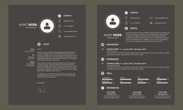 Curriculum vitae del CV con vector oscuro de la plantilla del diseño mínimo de la cubierta Fotos de archivo