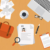 Curriculum vitae on desk. Curriculum vitae papers on desk with lap top, bag, papers. coffee, glasses, pen, document and magnifying glass. Flat  design Stock Images