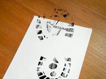 Curriculum vitae pisoteado Fotografía de archivo libre de regalías
