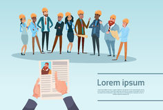 Curriculum Vitae Recruitment Candidate Job Position, Hands Hold CV Profile Builder Team Architect Mix Race Workers. Flat Vector Illustration Stock Photos