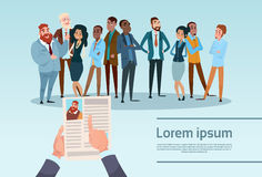 Curriculum Vitae Recruitment Candidate Job Position, Hands Hold CV Profile Choose Group Business People Hire Interview. Vector Illustration royalty free illustration