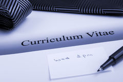 Curriculum Vitae or Resume. With appointment, in blue tone Royalty Free Stock Photo