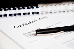 Curriculum vitae or resume. On a desk Stock Image