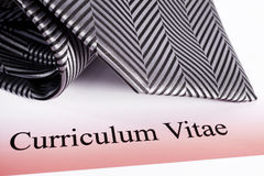 Curriculum Vitae and Tie Royalty Free Stock Photography