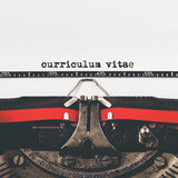 Curriculum Vitae type on old typewriter machine Stock Images