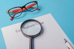 Curriculum vitae written on an blank white paper Stock Photos
