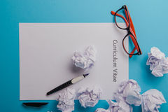 Curriculum vitae written on an blank white paper Stock Images