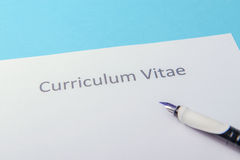 Curriculum vitae written on an blank white paper Stock Photography