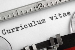 Curriculum vitae written on typewriter Royalty Free Stock Images