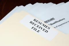 Curriculums vitae Imágenes de archivo libres de regalías