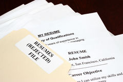 Curriculums vitae rechazados Imagen de archivo