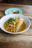 Curried chicken noodles soup famous food in Thailand Stock Images