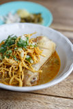 Curried chicken noodles soup famous food in Thailand Royalty Free Stock Images