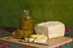 Curried green beans prserve on fresh bread Stock Image