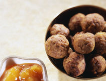 Curried  lamb meatballs Royalty Free Stock Images