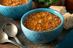 Curried Lentil Soup. A bowl of delicious hearty homemade curried lentil soup royalty free stock photos