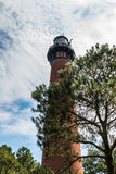 Currituck Beach Lighthouse Undergoing Renovations in Corolla, North Carolina. COROLLA, NORTH CAROLINA - JULY 14, 2017:  Originally built in 1875, the Currituck Stock Images