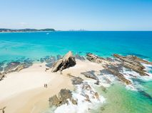 Currumbin胡同一张鸟瞰图在英属黄金海岸的在昆士兰,澳大利亚 库存图片