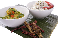 Curry on Banana Leaf Stock Images