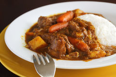 Curry beef with rice Stock Photography