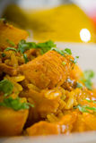 Curry beef rice and potatoes Royalty Free Stock Photography