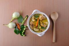 Curry caldo piccante di verde del pollo con la minestra del latte di cocco Immagini Stock Libere da Diritti
