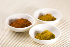 Curry, cayenne pepper and turmeric in white bowls Royalty Free Stock Image